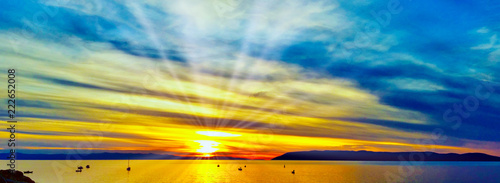 Croatian sunset over  Adriatic Sea in Makarska, Croatia