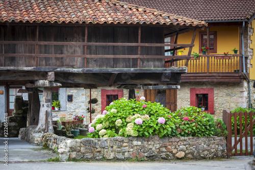 Casa y hórreo típicos de los pueblos de Asturias