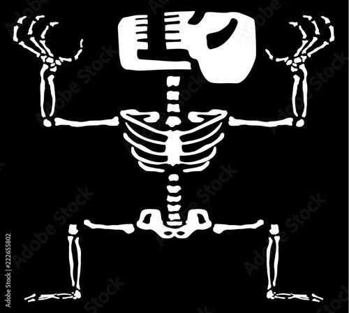 Fényképezés Manic Skeleton Cartoon
