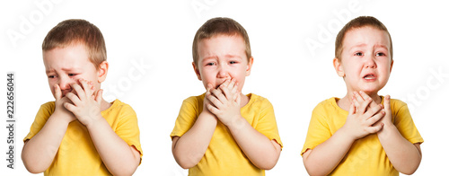 Leinwand Poster Set of portraits of little crying baby boy isolated on a white background