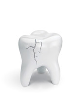Cracked Tooth On White Backgro...