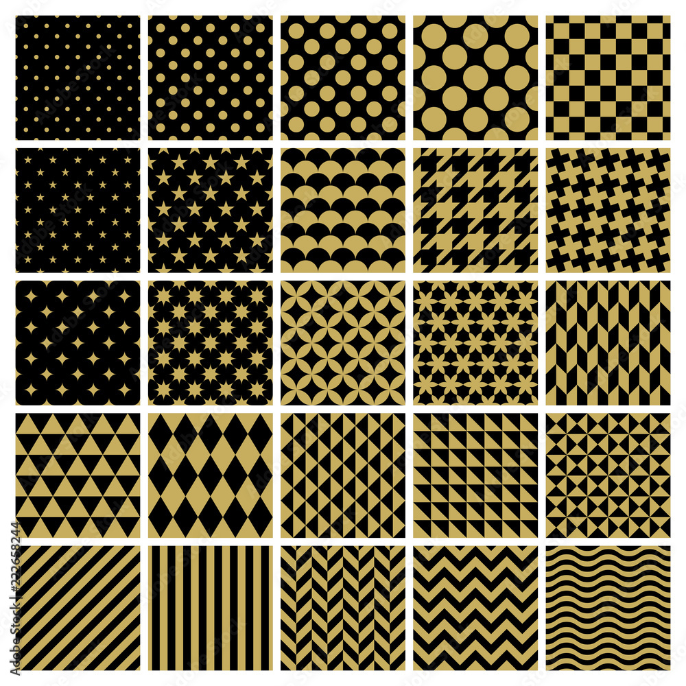 Photo  Set of 25 classic geometric patterns