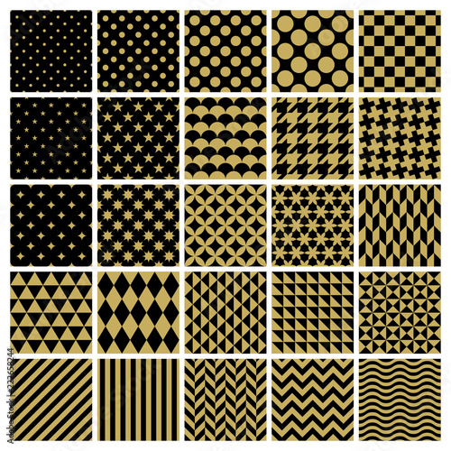 Set of 25 classic geometric patterns Canvas Print