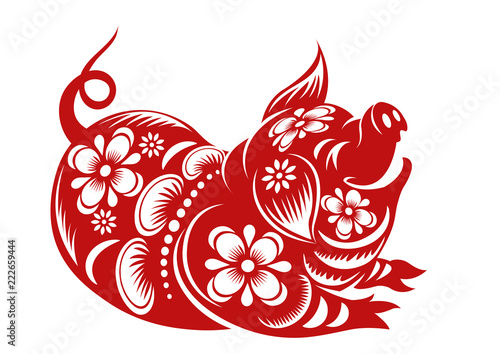 Photo  Chinese Zodiac Sign Year of Pig,Red paper cut pig,Happy Chinese New Year 2019 ye