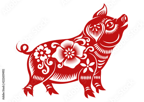 Obraz na plátne Chinese Zodiac Sign Year of Pig,Red paper cut pig,Happy Chinese New Year 2019 ye