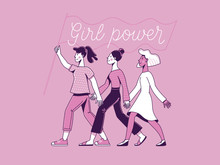 Vector Illustration With Hand-lettering Phrase - Girl Power And Feminist Movement