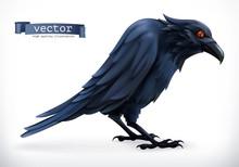Raven. Happy Halloween 3d Vect...