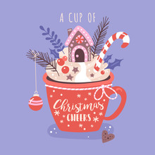 Merry Christmas Concept With Hot Chocolate Cup