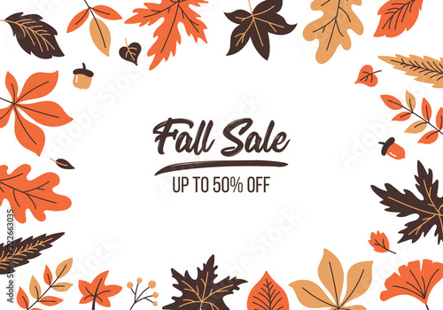 Obraz Autumn sale banner design with fall leaves background - fototapety do salonu