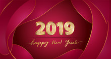 Golden Vector Luxury Text 2019 Happy New Year On Chinese Red Fluid Background