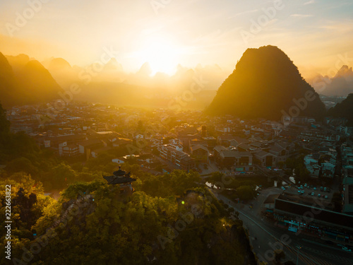 Staande foto Asia land Aerial photo of a sunrise in Guangxi China