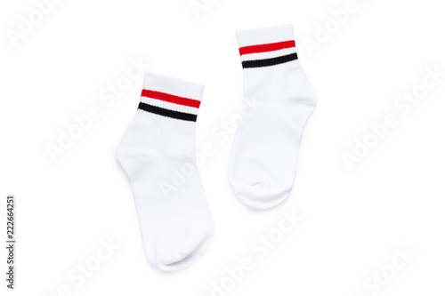 Photo White short socks with red and black stripes in pair isolated (Clipping path inc