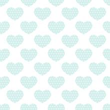Dotted Mint Heart, Seamless Pattern