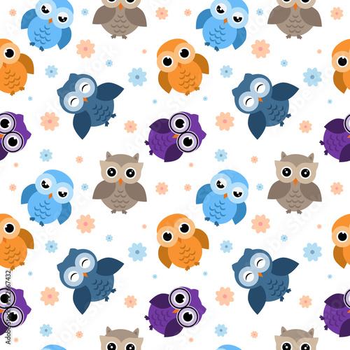 wzor-sowy-rozne-postacie-owls-seamless-pattern