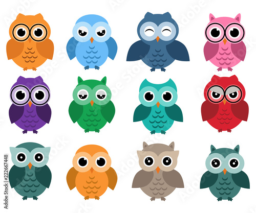 Wall Murals Birds, bees Owls set, different owls with emotions