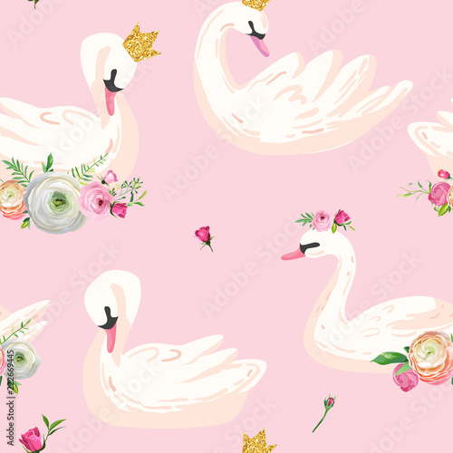 Fotografie, Obraz Beautiful Seamless Pattern with white Swans in crowns, use for Baby Background, Textile Prints, Covers, Wallpaper, Posters