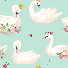 Beautiful Seamless Pattern With White Swans In Crowns, Use For Baby Background, Textile Prints, Covers, Wallpaper, Posters. Vector Illustration