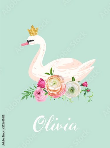 Fototapeta premium Illustration of Beautiful Swan with place for Baby Name for Poster Print, Baby Greetings, Invitation, Children Store Flyer, Brochure, Book Cover in vector