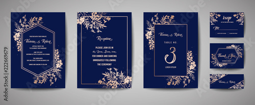 Fotografie, Obraz Luxury Wedding Save the Date, Invitation Navy Cards Collection with Gold Foil Flowers and Leaves and Wreath