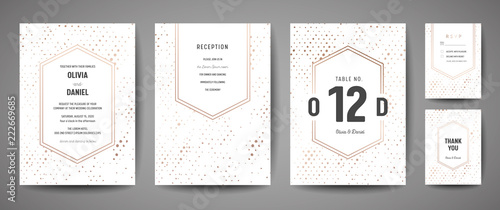Fototapeta Luxury Wedding Save the Date, Invitation Cards Collection with Gold Foil Polka Dots and Monogram Logo vector design template obraz