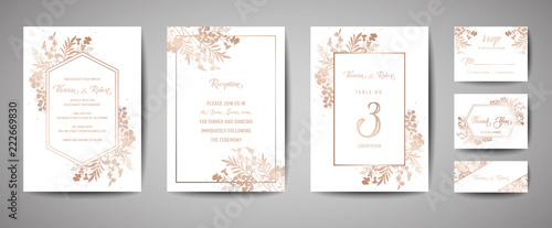 Fotografía  Luxury Wedding Save the Date, Invitation Navy Cards Collection with Gold Foil Flowers and Leaves and Wreath