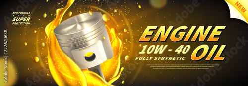 Fototapeta Engine oil advertisement web banner. Vector illustration with realistic pistons and motor oil on bright background. 3d ads template. obraz