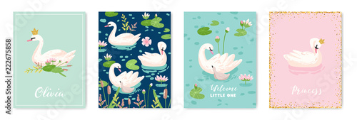 Collection of Beautiful Swans Posters for Design Print, Baby Greetings, Arrival Fototapet