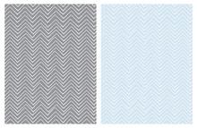 Set Of Seamless Cute Chevron Patterns. White Zig Zag Shape A Gray Ad Light Blue Background.  Funny Irregular Design. Infantile Style.