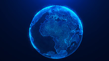 Global Planet Background. Global Network Planet Earth. 3D Rendering. World Map Point.