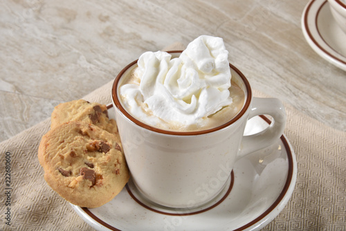 Spoed Foto op Canvas Chocolade Hot chocolate and cookies