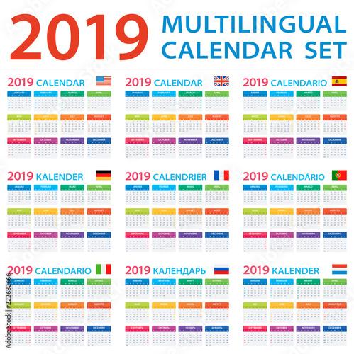 Calendario 2019 English.Calendar 2019 Set English American Spanish German