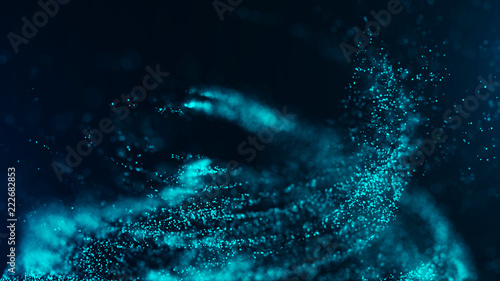 Poster Fractal waves Big data visualization. Digital background. Analytics representation. Wave of particles. 4k rendering.
