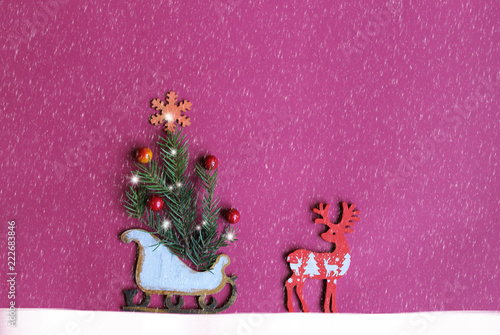 Poster Bloemen vrouw Christmas and New Year card / figures of deers, snowflakes,christmas tree,sledge,bullfinches