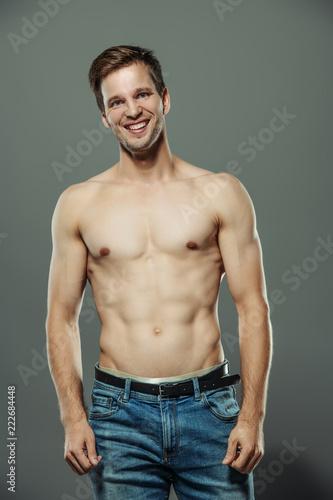 Deurstickers Akt cheerful posing man