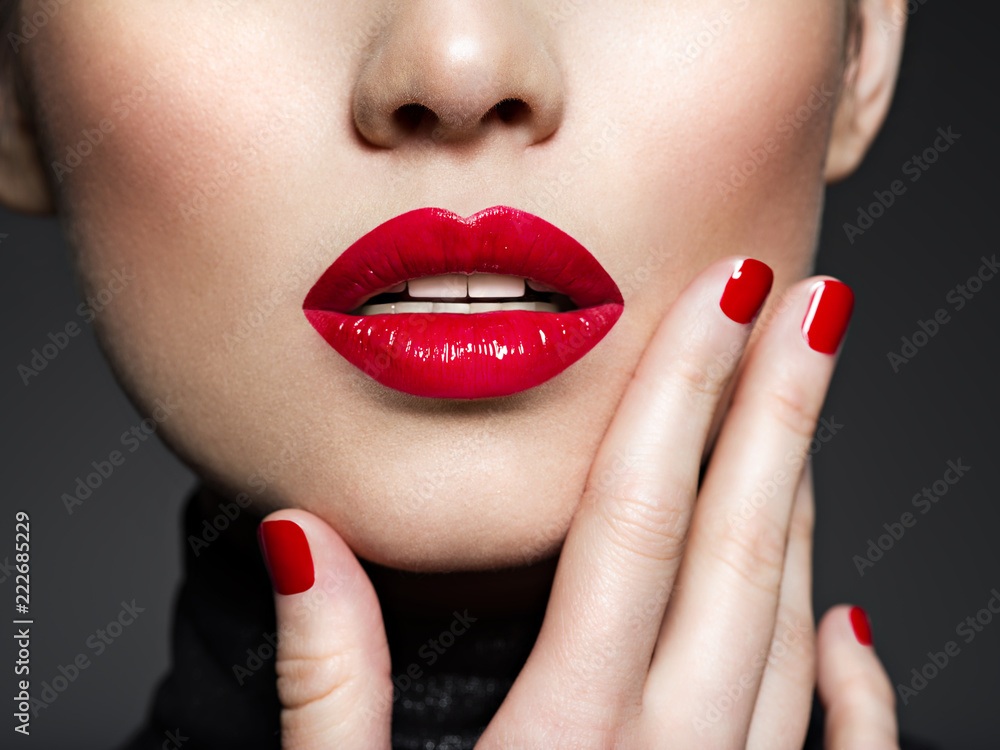 Fototapety, obrazy: Closeup sexy female lips with red lipstick.
