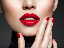 Closeup Sexy Female Lips With Red Lipstick.