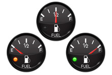 Fuel Gauge. Set Of Round Black Car Dashboard 3d Devices With Chrome Frame