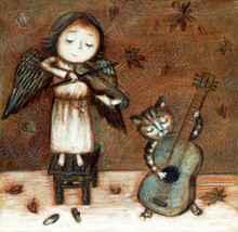 Christmas/ Birthday Card / Angel And Cat  Plays Music Instruments  On The Autumn Background
