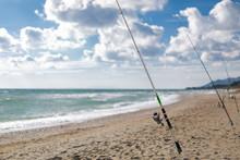 Fishing Rod On A Sandy Beach