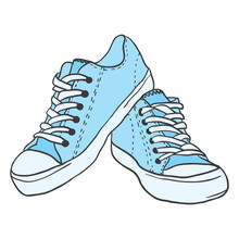 Pair Of Blue Sneakers Isolated...