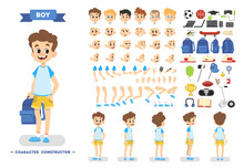 Cute Young Boy Character Set For Animation