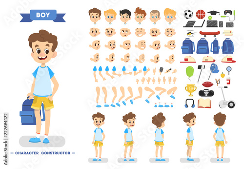 Fototapeta Cute young boy character set for animation obraz