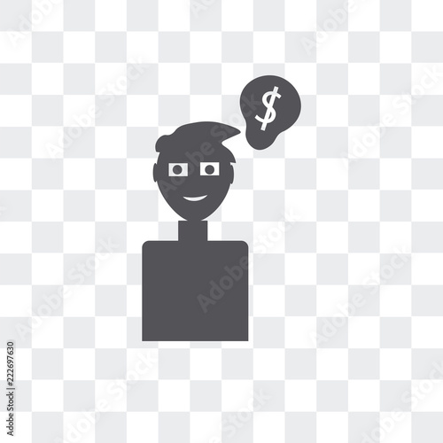 ideas to earn money icon isolated on transparent background