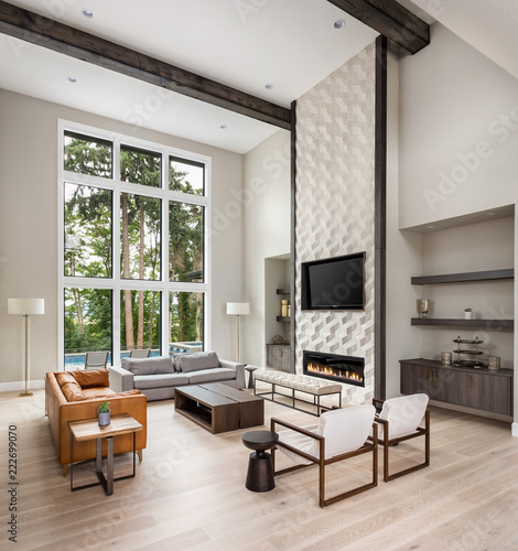 Beautiful Living Room In New Luxury Home Wall Of Windows