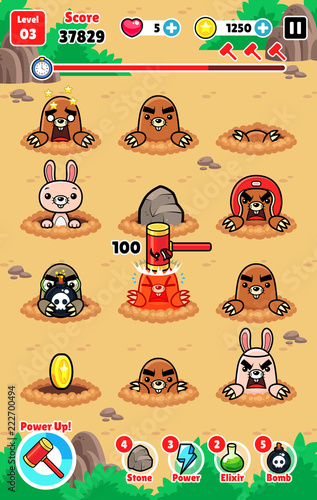 Moles Attack Game Assets