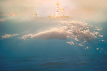 Heavenly temple in the clouds above the ocean. The concept of Christian and Catholic religion and faith. The majestic background for prayers, relaxation, meditation and calm spiritual experience