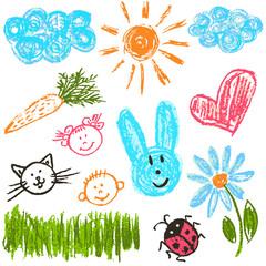 Dječji crtež. Elementi dizajna ambalaže, razglednica, omota, korica