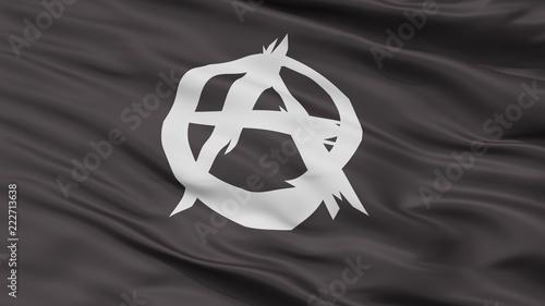 Anarchist Movement Flag, Closeup View, 3D Rendering Canvas Print