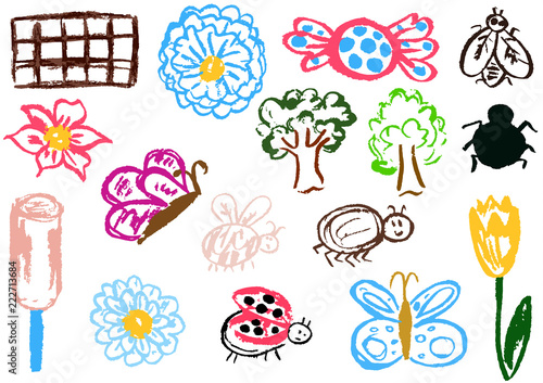 La pose en embrasure Papillons dans Grunge Design elements of packaging, postcards, wraps, covers. Sweet children's creativity. Flower, butterfly, bug, spider, fly, ladybug, ice cream, tree, candy, chocolate, tulip