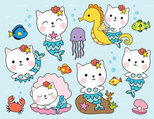 Cute Cat Mermaid Character Wit...